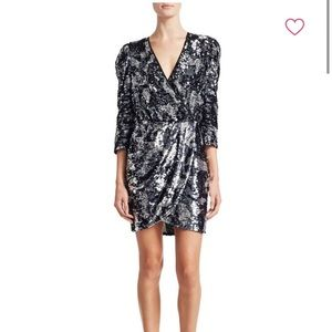 Tanya Taylor Zoey Sequin Camo Wrap Dress $695